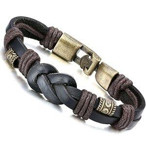 """Other - New Stylish Men Rope Leather Bracelet Bangle 8.5"""""""